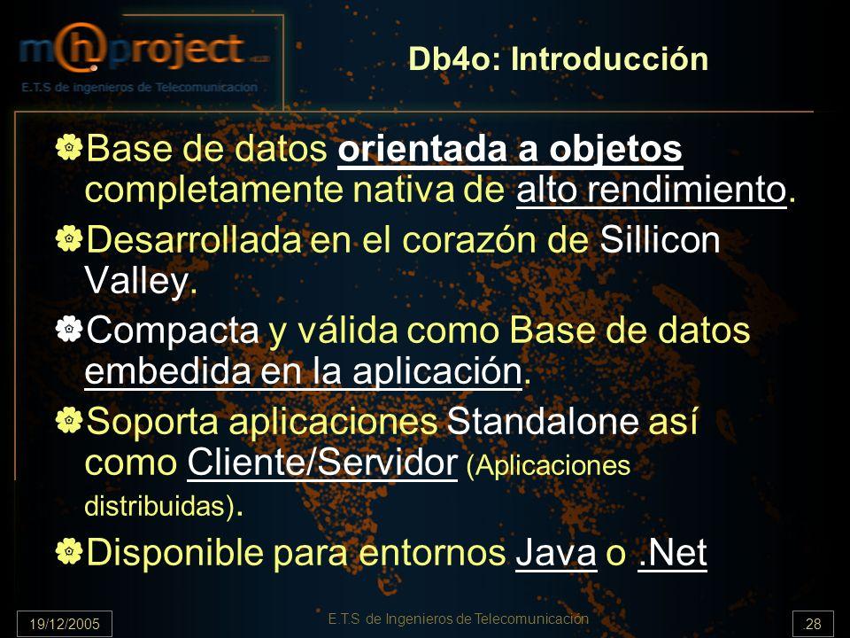 19/12/2005.28 E.T.S de Ingenieros de Telecomunicación Db4o: Introducción Base de datos orientada a objetos completamente nativa de alto rendimiento. D