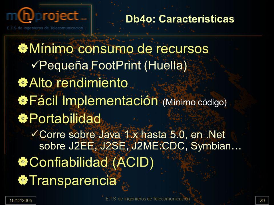 19/12/2005.29 E.T.S de Ingenieros de Telecomunicación Db4o: Características Mínimo consumo de recursos Pequeña FootPrint (Huella) Alto rendimiento Fác