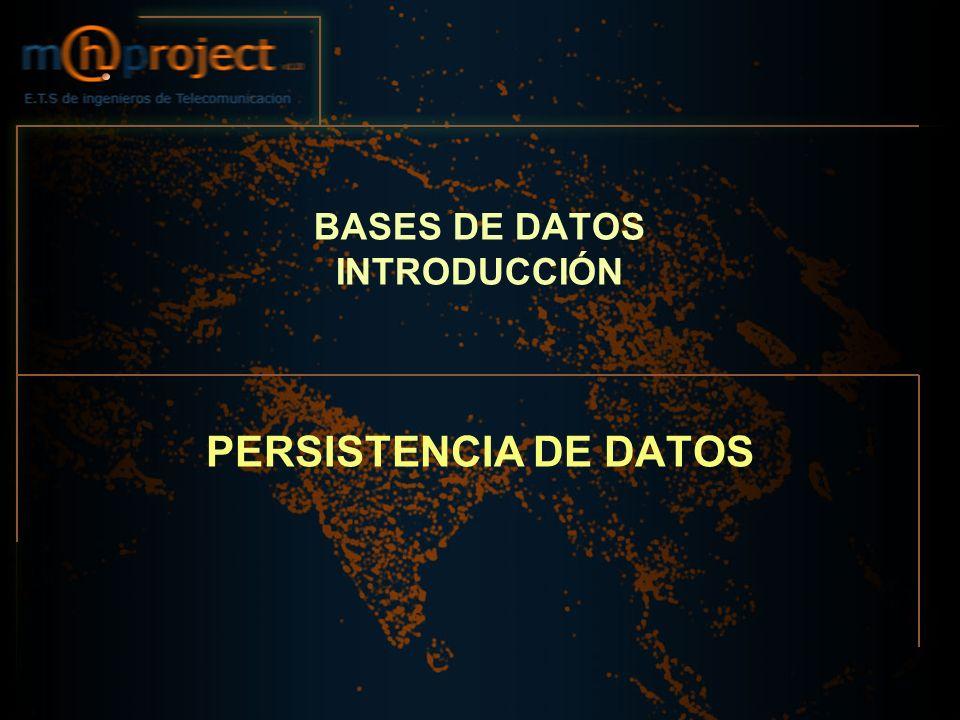 BASES DE DATOS INTRODUCCIÓN PERSISTENCIA DE DATOS