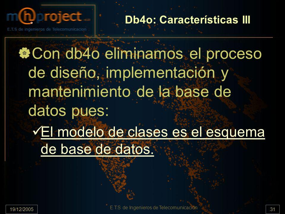 19/12/2005.31 E.T.S de Ingenieros de Telecomunicación Db4o: Características III Con db4o eliminamos el proceso de diseño, implementación y mantenimien