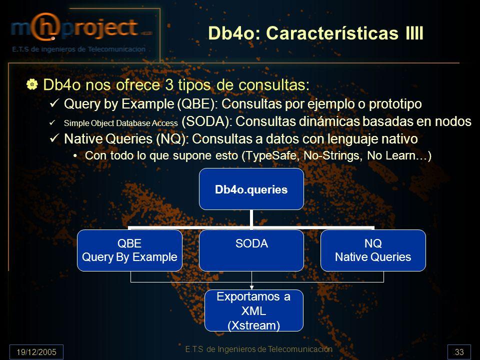 19/12/2005.33 E.T.S de Ingenieros de Telecomunicación Db4o: Características IIII Db4o nos ofrece 3 tipos de consultas: Query by Example (QBE): Consult