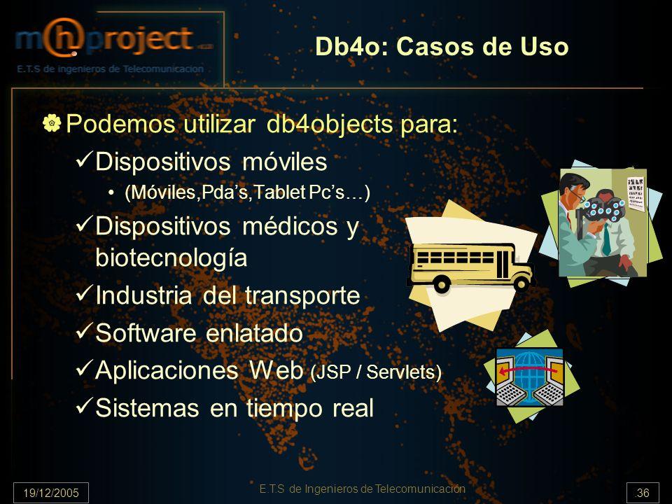 19/12/2005.36 E.T.S de Ingenieros de Telecomunicación Db4o: Casos de Uso Podemos utilizar db4objects para: Dispositivos móviles (Móviles,Pdas,Tablet P