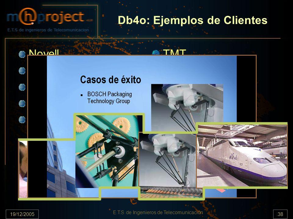 19/12/2005.38 E.T.S de Ingenieros de Telecomunicación Db4o: Ejemplos de Clientes Novell BMW Car IT Indra Systems Massie Labas Bosch TMT Eastern Data E