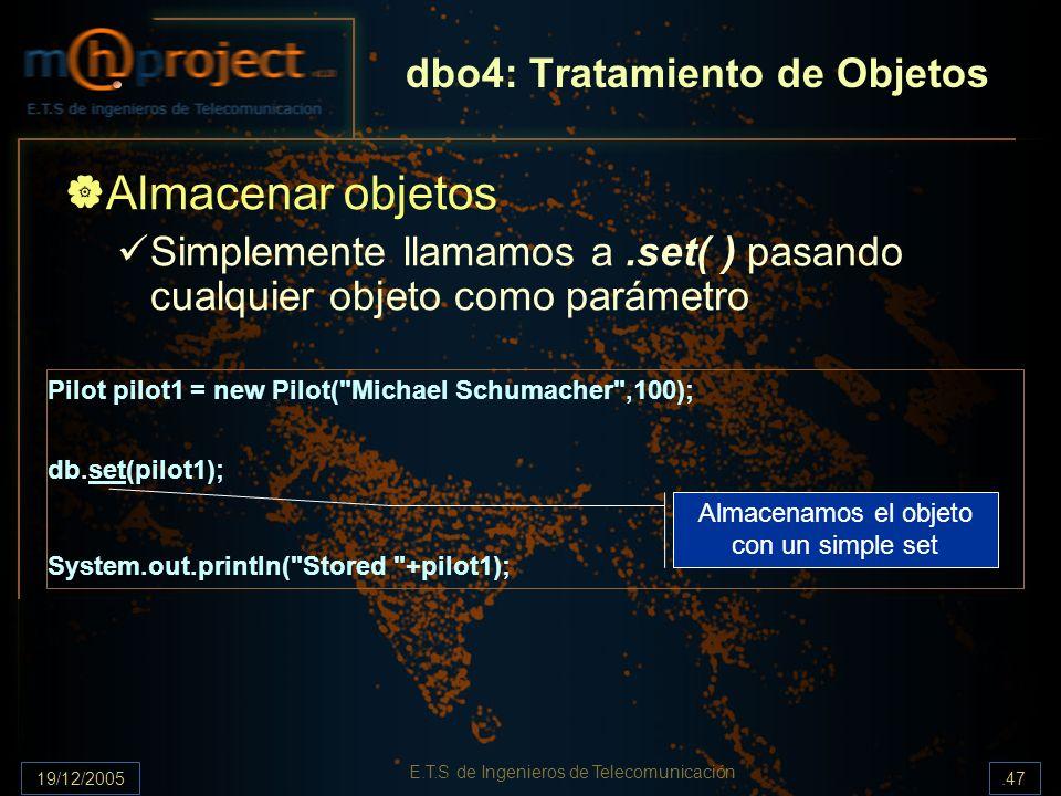 19/12/2005.47 E.T.S de Ingenieros de Telecomunicación dbo4: Tratamiento de Objetos Almacenar objetos Simplemente llamamos a.set( ) pasando cualquier o