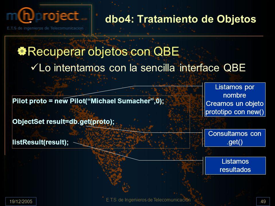 19/12/2005.49 E.T.S de Ingenieros de Telecomunicación dbo4: Tratamiento de Objetos Recuperar objetos con QBE Lo intentamos con la sencilla interface Q