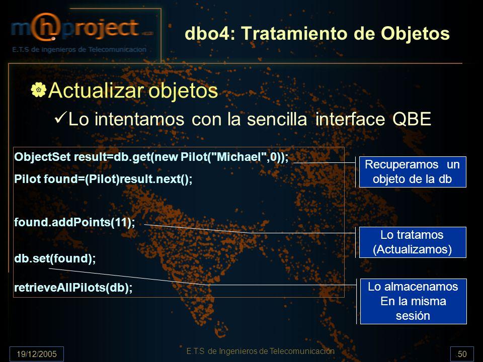 19/12/2005.50 E.T.S de Ingenieros de Telecomunicación dbo4: Tratamiento de Objetos Actualizar objetos Lo intentamos con la sencilla interface QBE Obje