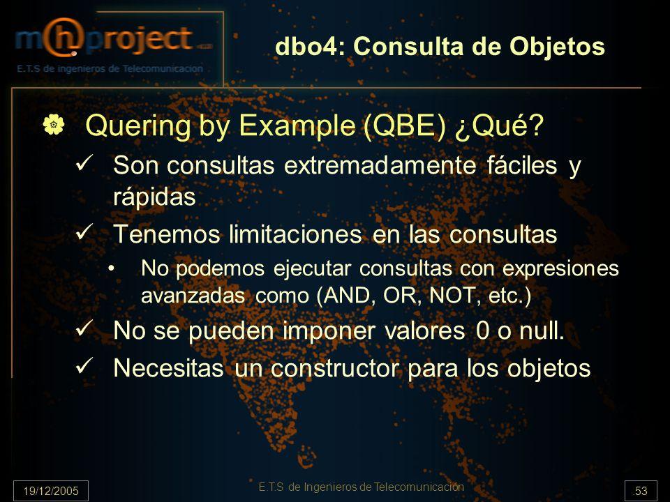 19/12/2005.53 E.T.S de Ingenieros de Telecomunicación dbo4: Consulta de Objetos Quering by Example (QBE) ¿Qué? Son consultas extremadamente fáciles y