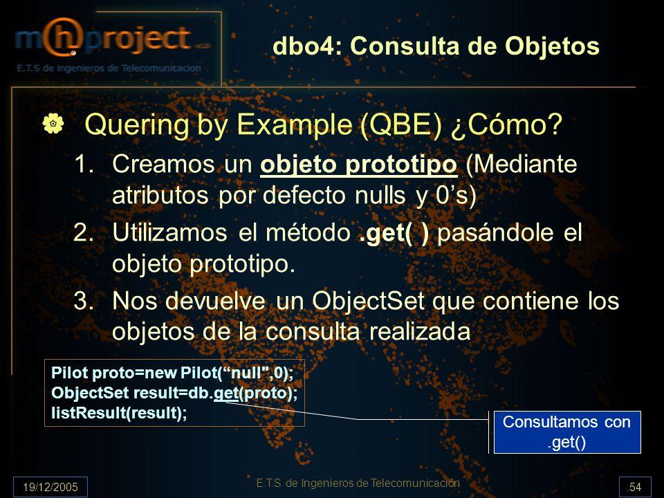 19/12/2005.54 E.T.S de Ingenieros de Telecomunicación dbo4: Consulta de Objetos Quering by Example (QBE) ¿Cómo? 1.Creamos un objeto prototipo (Mediant