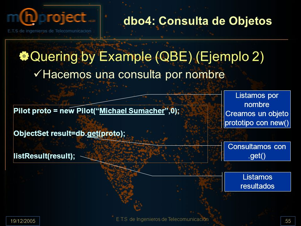 19/12/2005.55 E.T.S de Ingenieros de Telecomunicación dbo4: Consulta de Objetos Quering by Example (QBE) (Ejemplo 2) Hacemos una consulta por nombre P