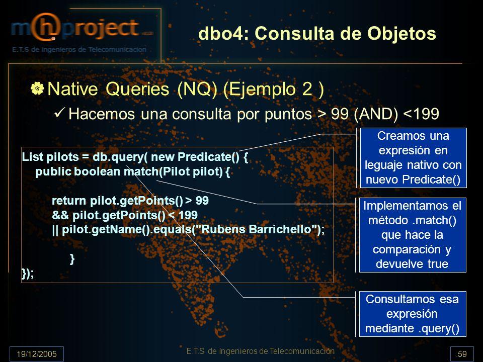 19/12/2005.59 E.T.S de Ingenieros de Telecomunicación dbo4: Consulta de Objetos Native Queries (NQ) (Ejemplo 2 ) Hacemos una consulta por puntos > 99