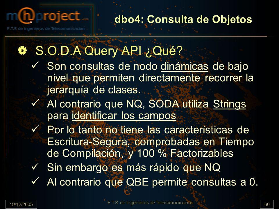 19/12/2005.60 E.T.S de Ingenieros de Telecomunicación dbo4: Consulta de Objetos S.O.D.A Query API ¿Qué? Son consultas de nodo dinámicas de bajo nivel