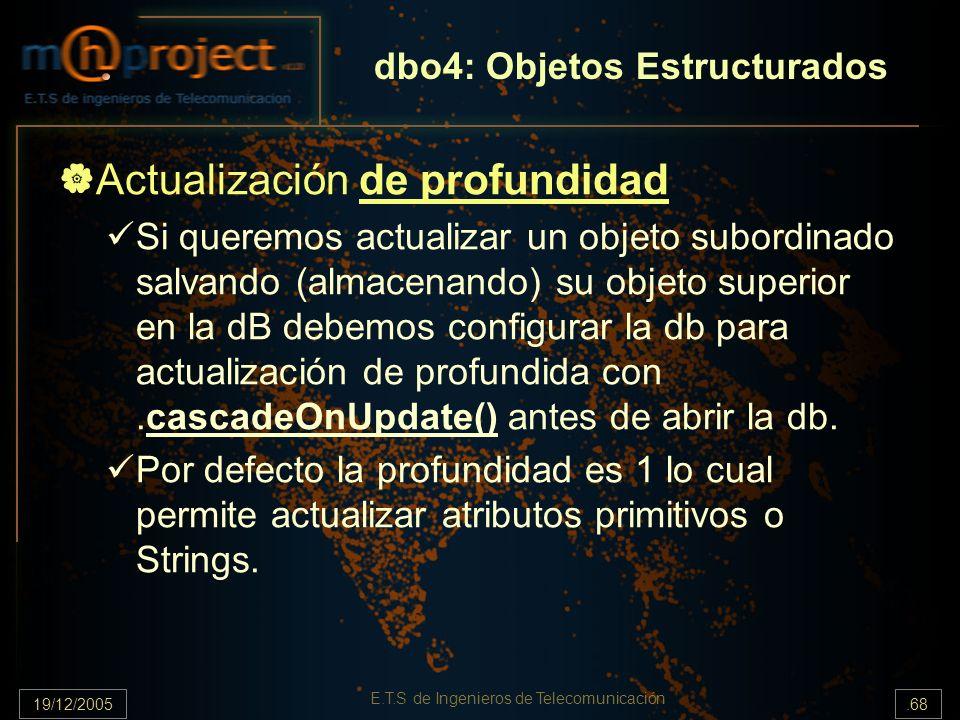 19/12/2005.68 E.T.S de Ingenieros de Telecomunicación Actualización de profundidad Si queremos actualizar un objeto subordinado salvando (almacenando)