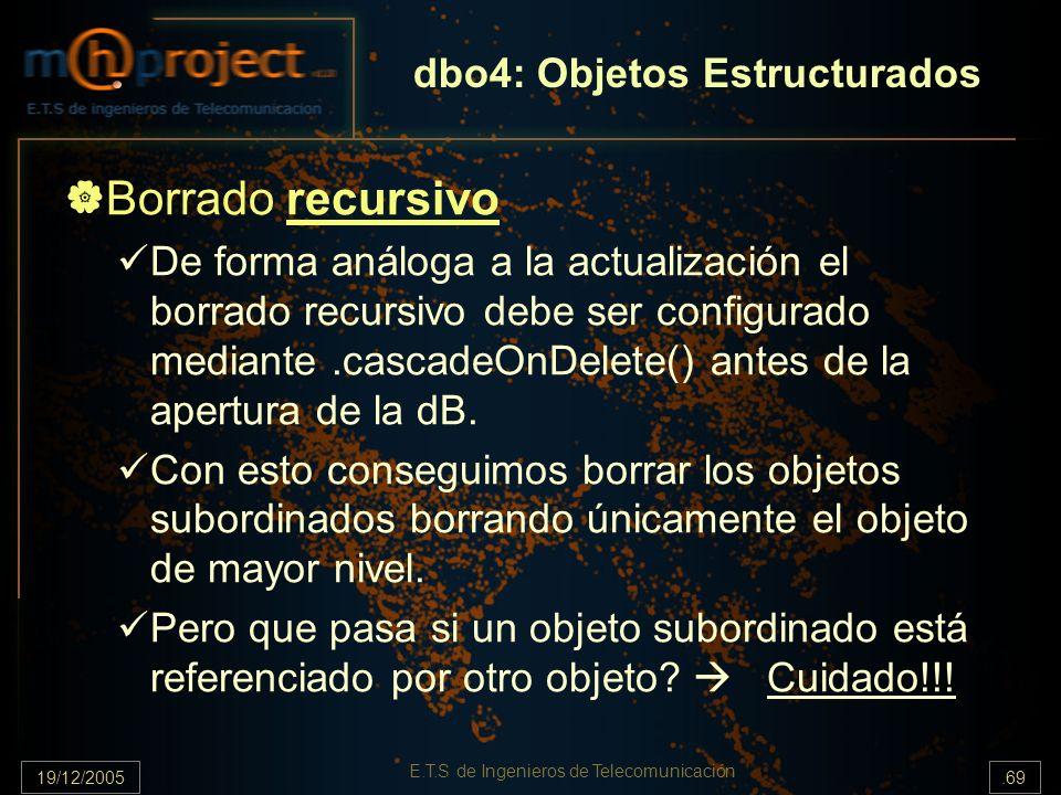 19/12/2005.69 E.T.S de Ingenieros de Telecomunicación Borrado recursivo De forma análoga a la actualización el borrado recursivo debe ser configurado