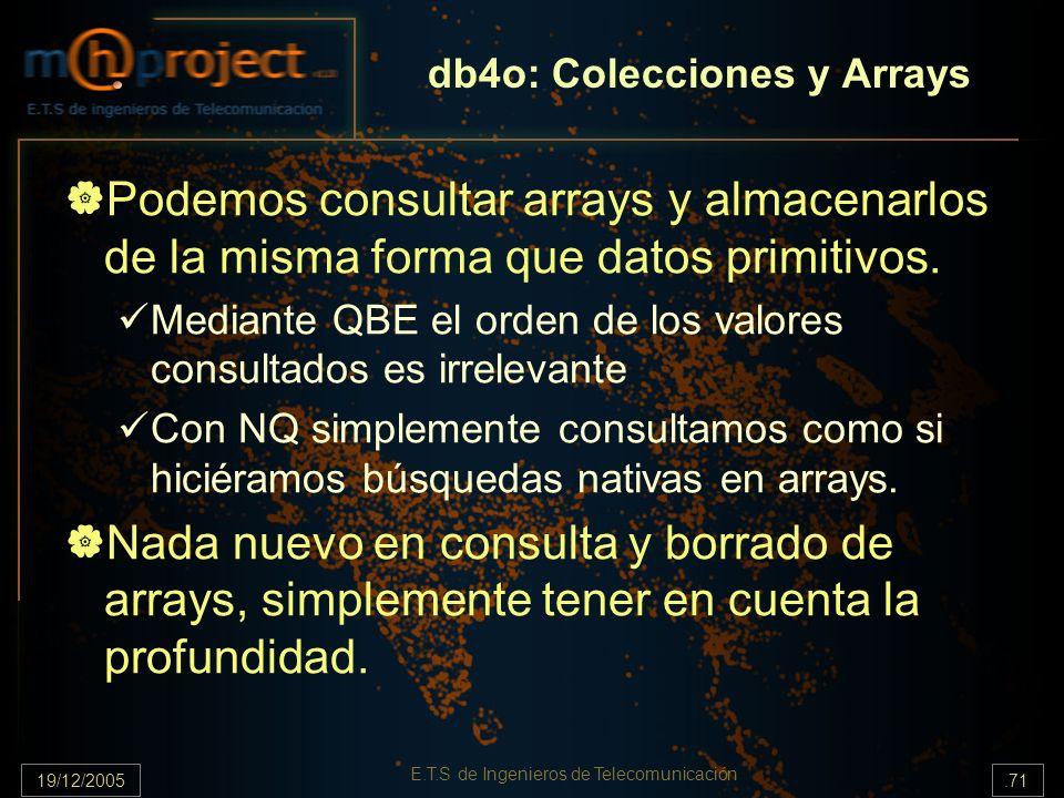 19/12/2005.71 E.T.S de Ingenieros de Telecomunicación db4o: Colecciones y Arrays Podemos consultar arrays y almacenarlos de la misma forma que datos p