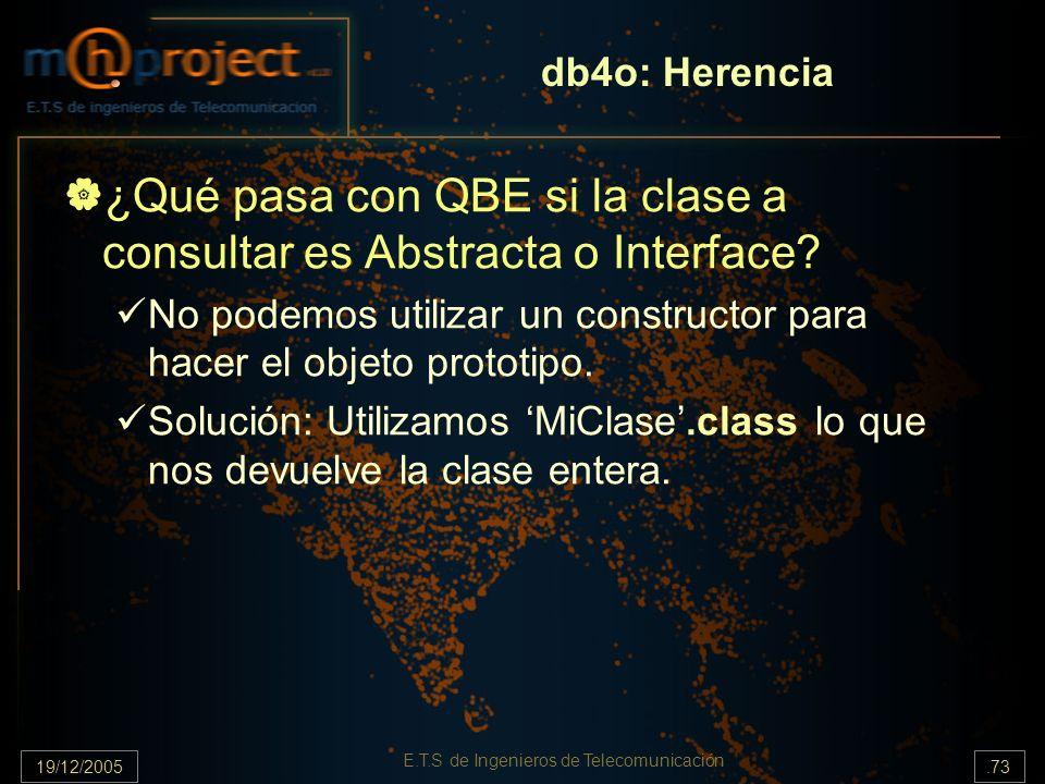19/12/2005.73 E.T.S de Ingenieros de Telecomunicación ¿Qué pasa con QBE si la clase a consultar es Abstracta o Interface? No podemos utilizar un const