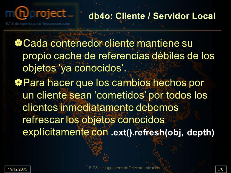 19/12/2005.78 E.T.S de Ingenieros de Telecomunicación Cada contenedor cliente mantiene su propio cache de referencias débiles de los objetos ya conoci