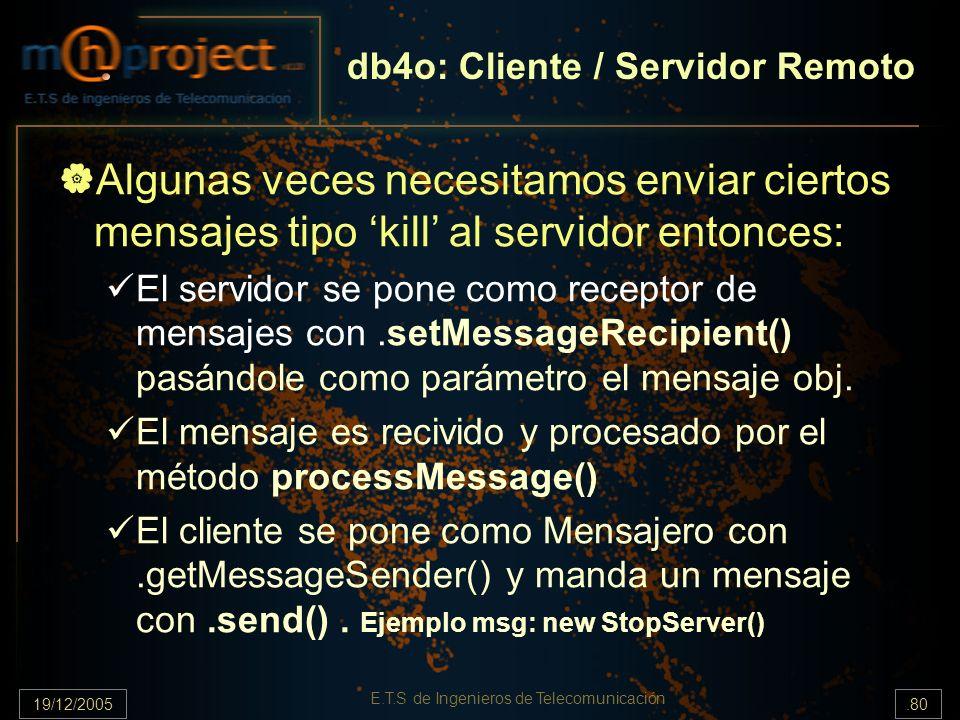 19/12/2005.80 E.T.S de Ingenieros de Telecomunicación Algunas veces necesitamos enviar ciertos mensajes tipo kill al servidor entonces: El servidor se