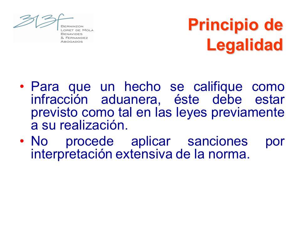 Principio de Legalidad Para que un hecho se califique como infracción aduanera, éste debe estar previsto como tal en las leyes previamente a su realiz