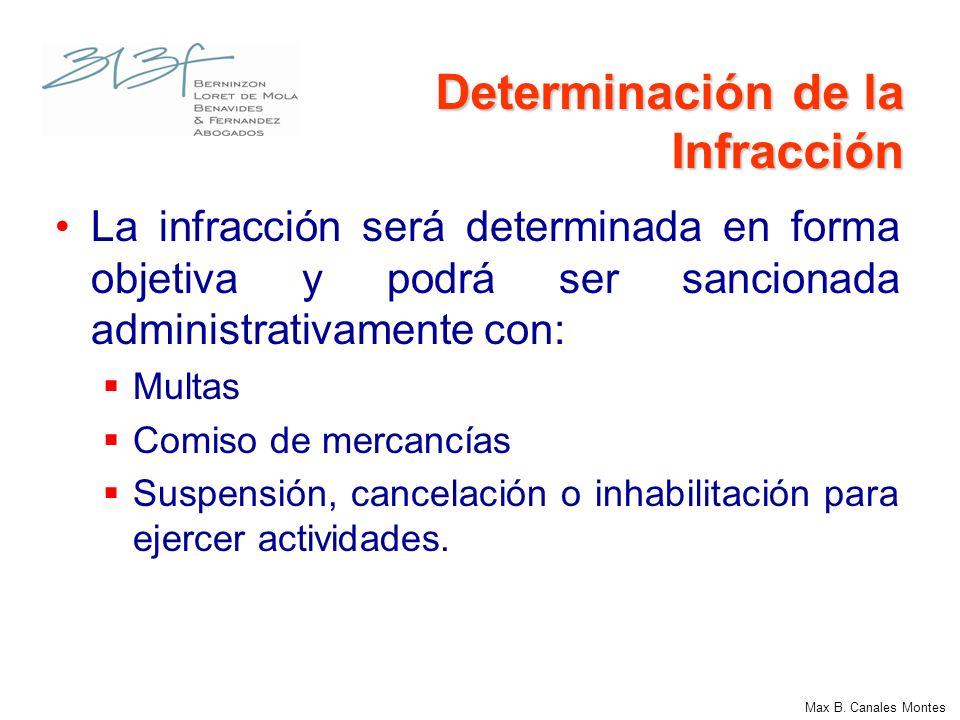Determinación de la Infracción La infracción será determinada en forma objetiva y podrá ser sancionada administrativamente con: Multas Comiso de merca