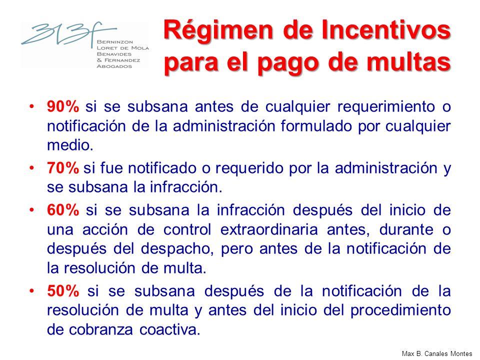 Max B. Canales Montes Régimen de Incentivos para el pago de multas 90% si se subsana antes de cualquier requerimiento o notificación de la administrac