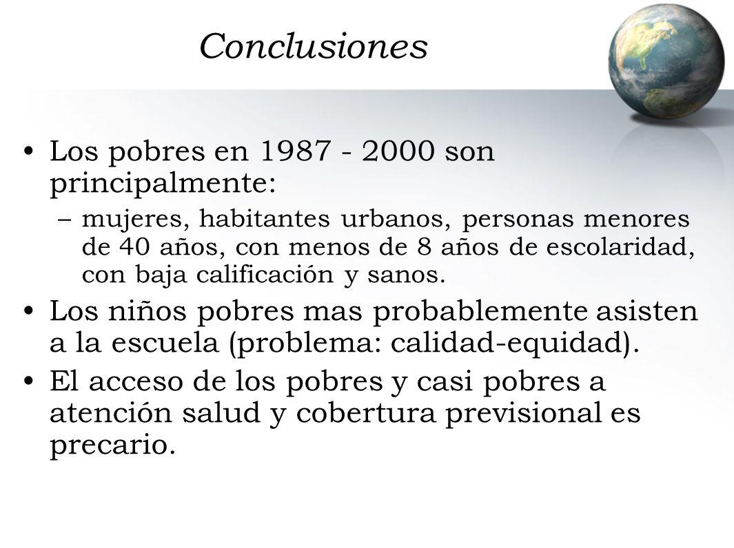 Conclusiones Los pobres en 1987 - 2000 son principalmente: –mujeres, habitantes urbanos, personas menores de 40 años, con menos de 8 años de escolaridad, con baja calificación y sanos.