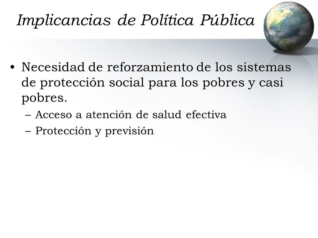 Implicancias de Política Pública Necesidad de reforzamiento de los sistemas de protección social para los pobres y casi pobres.