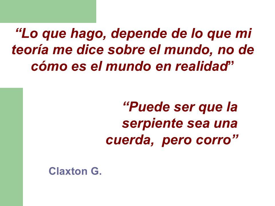 Claxton G. Lo que hago, depende de lo que mi teoría me dice sobre el mundo, no de cómo es el mundo en realidad Puede ser que la serpiente sea una cuer