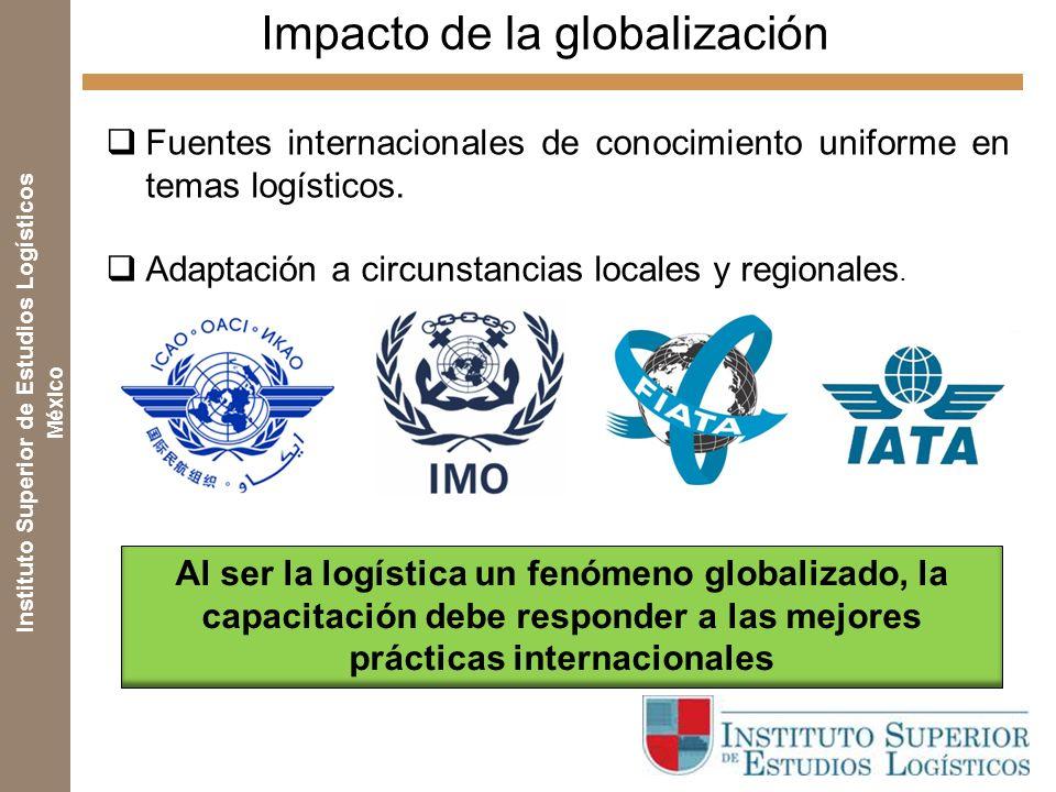 Instituto Superior de Estudios Logísticos México Impacto de la globalización Fuentes internacionales de conocimiento uniforme en temas logísticos.