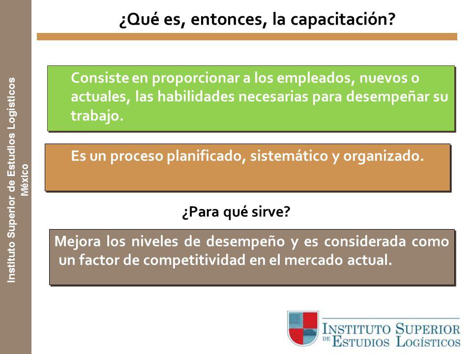 Instituto Superior de Estudios Logísticos México ¿Qué es, entonces, la capacitación.