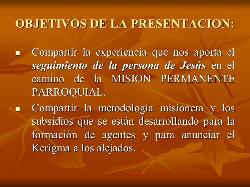 OBJETIVOS DE LA PRESENTACION: Compartir la experiencia que nos aporta el seguimiento de la persona de Jesús en el camino de la MISION PERMANENTE PARRO