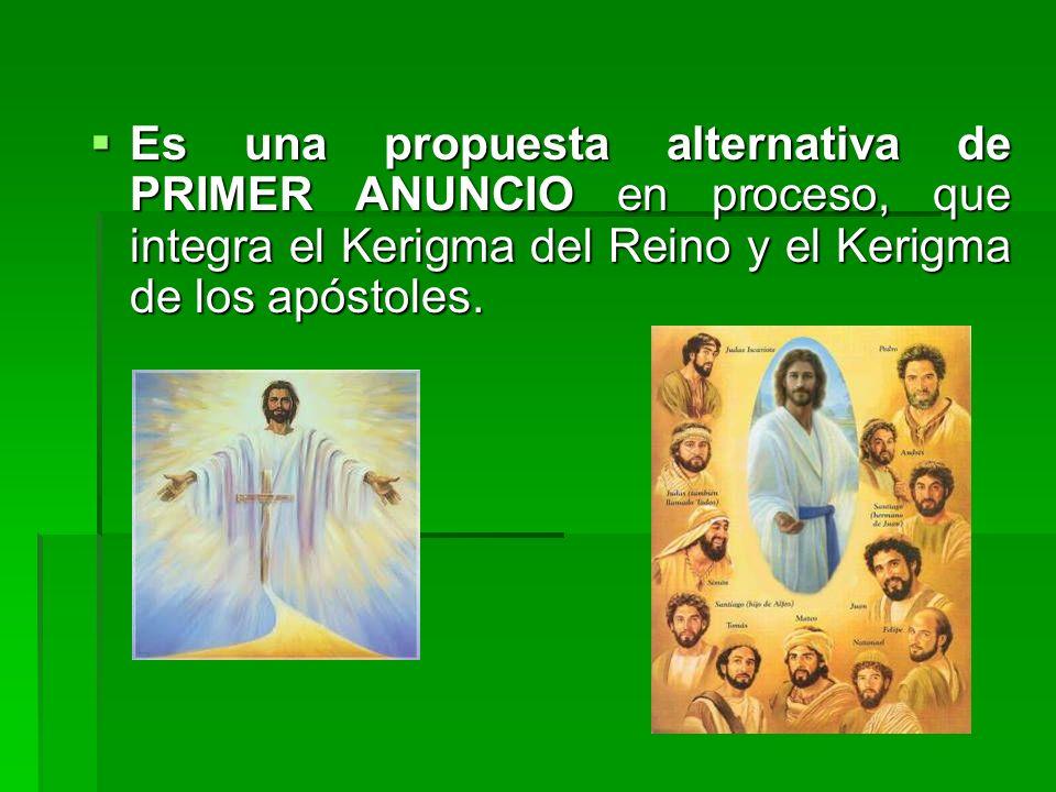 Es una propuesta alternativa de PRIMER ANUNCIO en proceso, que integra el Kerigma del Reino y el Kerigma de los apóstoles. Es una propuesta alternativ