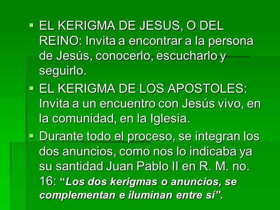 EL KERIGMA DE JESUS, O DEL REINO: Invita a encontrar a la persona de Jesús, conocerlo, escucharlo y seguirlo. EL KERIGMA DE JESUS, O DEL REINO: Invita