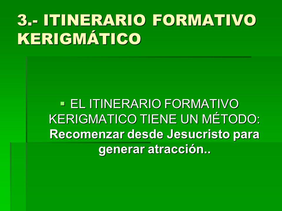 3.- ITINERARIO FORMATIVO KERIGMÁTICO EL ITINERARIO FORMATIVO KERIGMATICO TIENE UN MÉTODO: Recomenzar desde Jesucristo para generar atracción.. EL ITIN