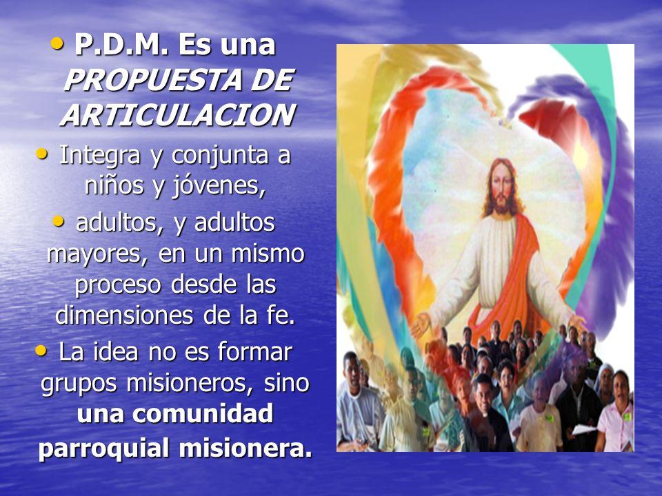 P.D.M. Es una PROPUESTA DE ARTICULACION P.D.M. Es una PROPUESTA DE ARTICULACION Integra y conjunta a niños y jóvenes, Integra y conjunta a niños y jóv