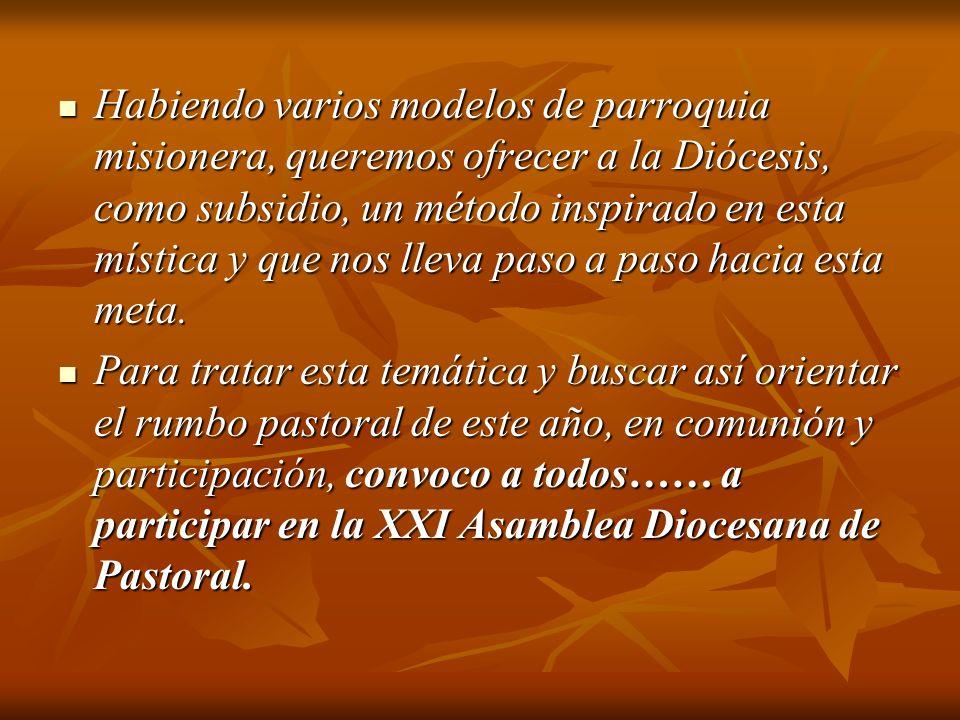 Habiendo varios modelos de parroquia misionera, queremos ofrecer a la Diócesis, como subsidio, un método inspirado en esta mística y que nos lleva pas