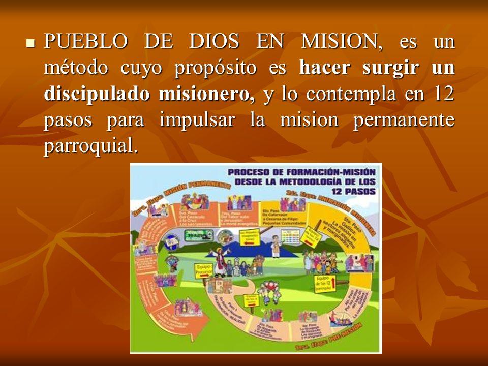 PUEBLO DE DIOS EN MISION, es un método cuyo propósito es hacer surgir un discipulado misionero, y lo contempla en 12 pasos para impulsar la mision per