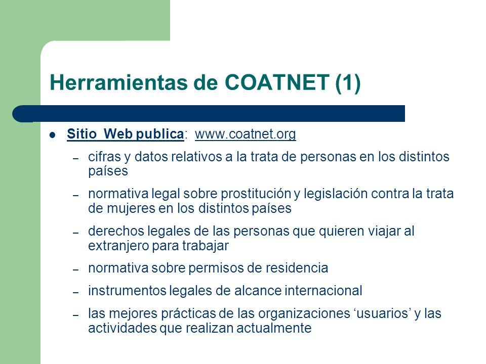 Herramientas de COATNET (1) Sitio Web publica: www.coatnet.orgwww.coatnet.org – cifras y datos relativos a la trata de personas en los distintos paíse