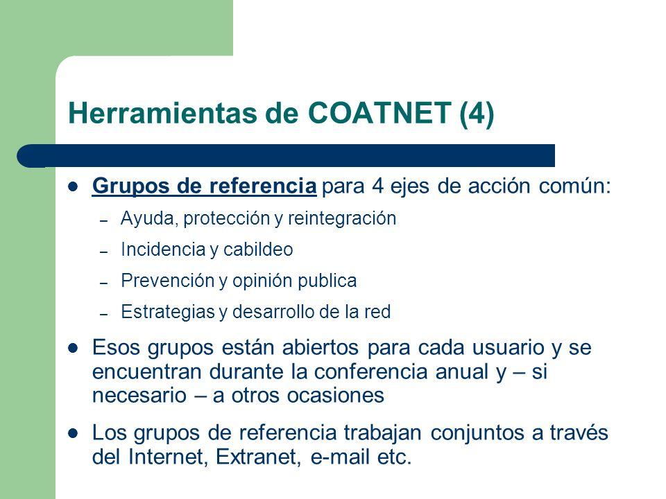 Herramientas de COATNET (4) Grupos de referencia para 4 ejes de acción común: – Ayuda, protección y reintegración – Incidencia y cabildeo – Prevención