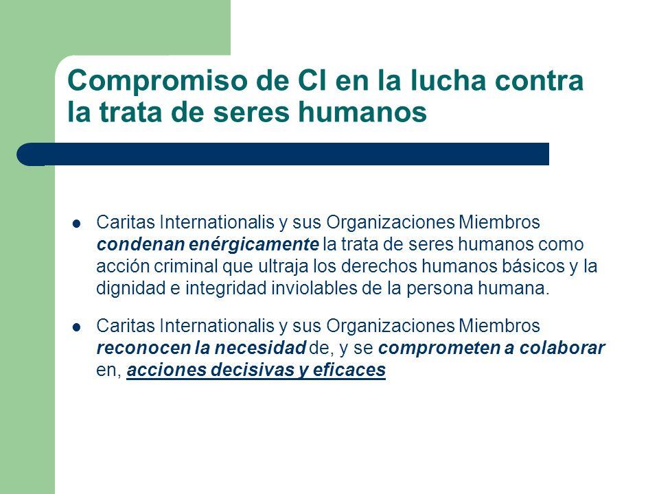 Compromiso de CI en la lucha contra la trata de seres humanos Caritas Internationalis y sus Organizaciones Miembros condenan enérgicamente la trata de