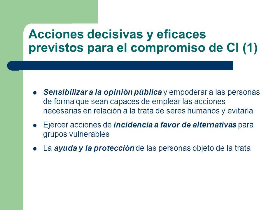 Acciones decisivas y eficaces previstos para el compromiso de CI (1) Sensibilizar a la opinión pública y empoderar a las personas de forma que sean ca
