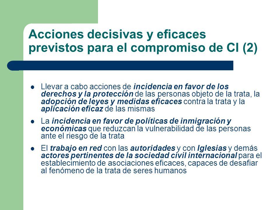 Acciones decisivas y eficaces previstos para el compromiso de CI (2) Llevar a cabo acciones de incidencia en favor de los derechos y la protección de