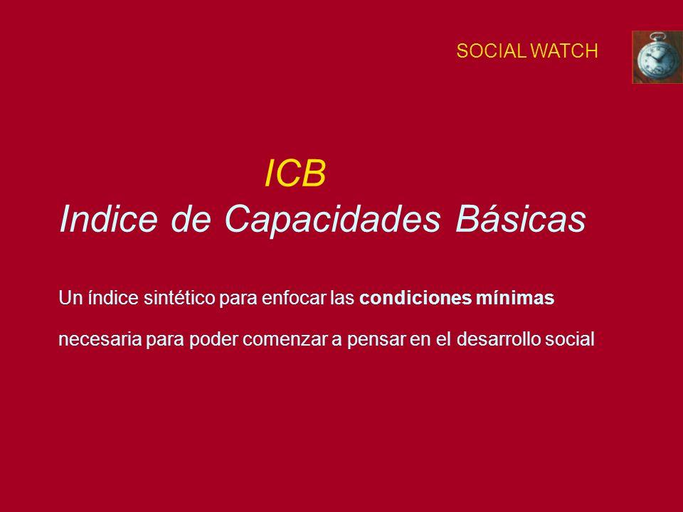 ICB Indice de Capacidades Básicas Un índice sintético para enfocar las condiciones mínimas necesaria para poder comenzar a pensar en el desarrollo social SOCIAL WATCH