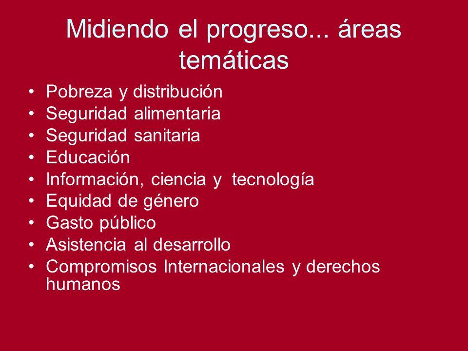 Midiendo el progreso... áreas temáticas Pobreza y distribución Seguridad alimentaria Seguridad sanitaria Educación Información, ciencia y tecnología E