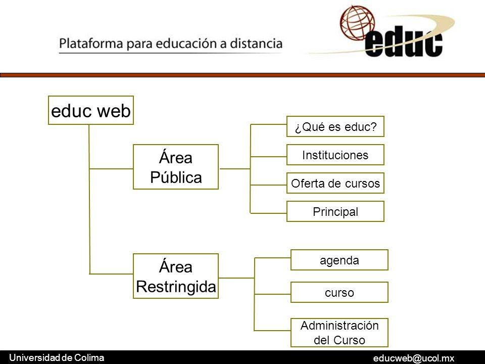 educweb@ucol.mx Universidad de Colima educ web Área Pública Área Restringida curso agenda Administración del Curso ¿Qué es educ? Instituciones Oferta