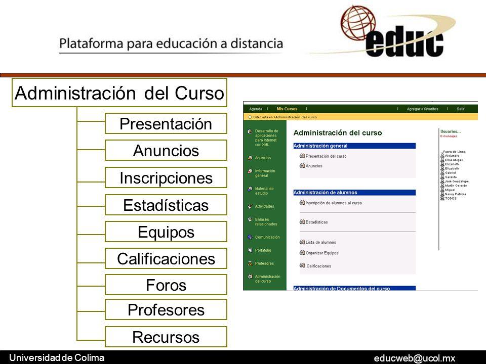 educweb@ucol.mx Universidad de Colima Administración del Curso Presentación Anuncios Inscripciones Estadísticas Equipos Calificaciones Foros Profesore
