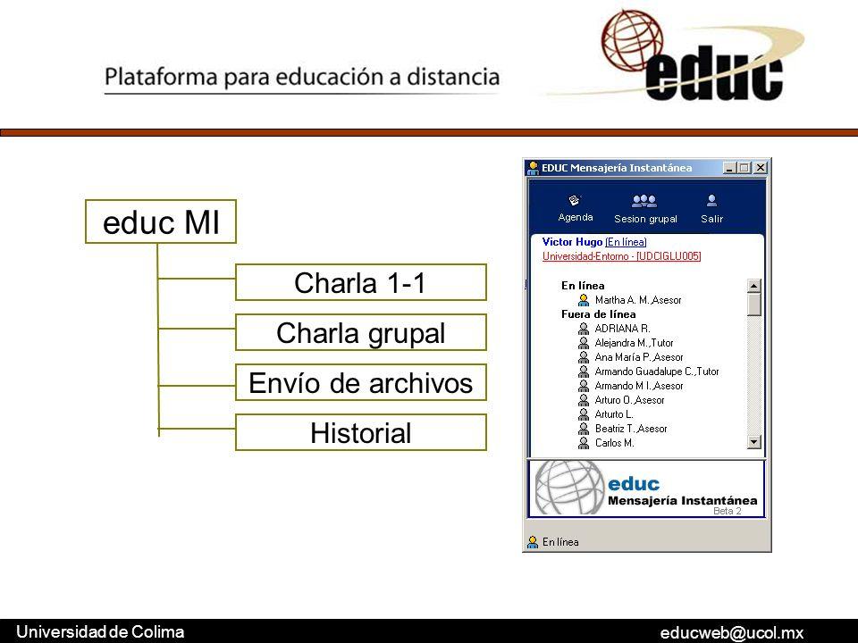 educweb@ucol.mx Universidad de Colima educ MI Charla 1-1 Charla grupal Envío de archivos Historial