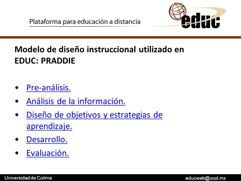 educweb@ucol.mx Universidad de Colima Modelo de diseño instruccional utilizado en EDUC: PRADDIE Pre-análisis. Análisis de la información. Diseño de ob