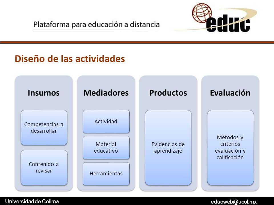 educweb@ucol.mx Universidad de Colima Insumos Competencias a desarrollar Contenido a revisar Mediadores Actividad Material educativo Herramientas Prod