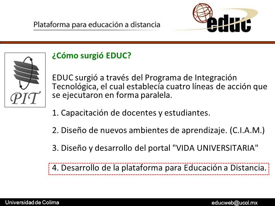 educweb@ucol.mx Universidad de Colima ¿Cómo surgió EDUC? EDUC surgió a través del Programa de Integración Tecnológica, el cual establecía cuatro línea