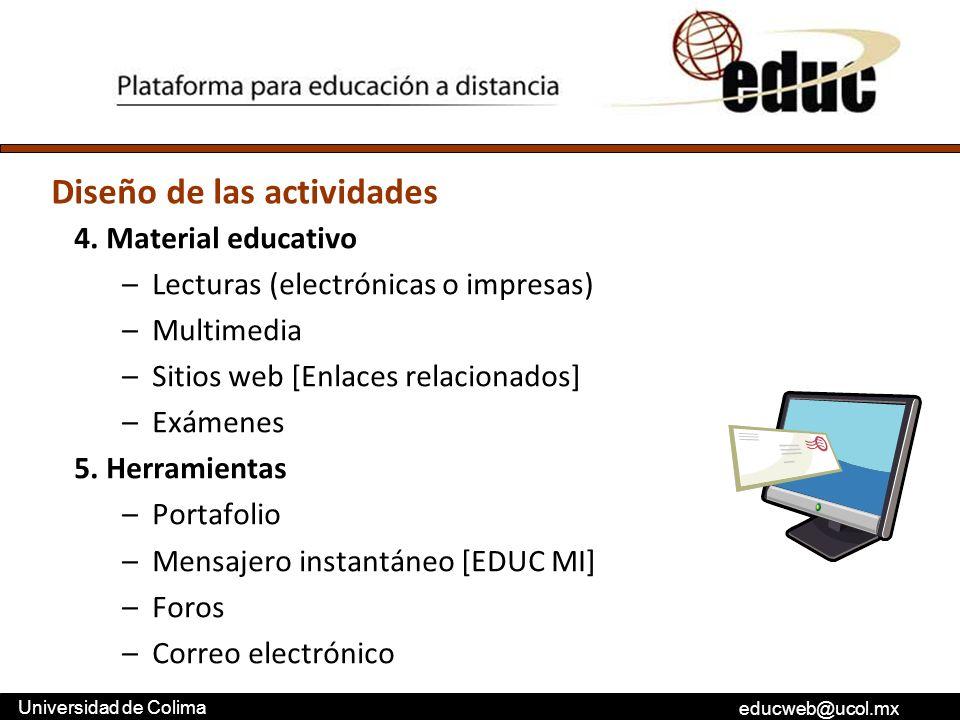 educweb@ucol.mx Universidad de Colima 4. Material educativo –Lecturas (electrónicas o impresas) –Multimedia –Sitios web [Enlaces relacionados] –Exámen